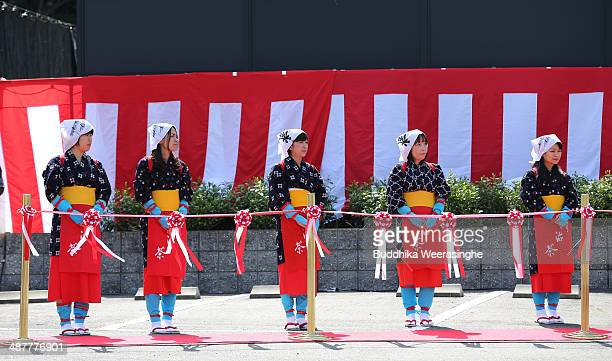 Women dressed in traditional tea farmer costumes attend ritual ceremony before the pick Tencha fresh green tea leaves during the annual Tea Harvest...