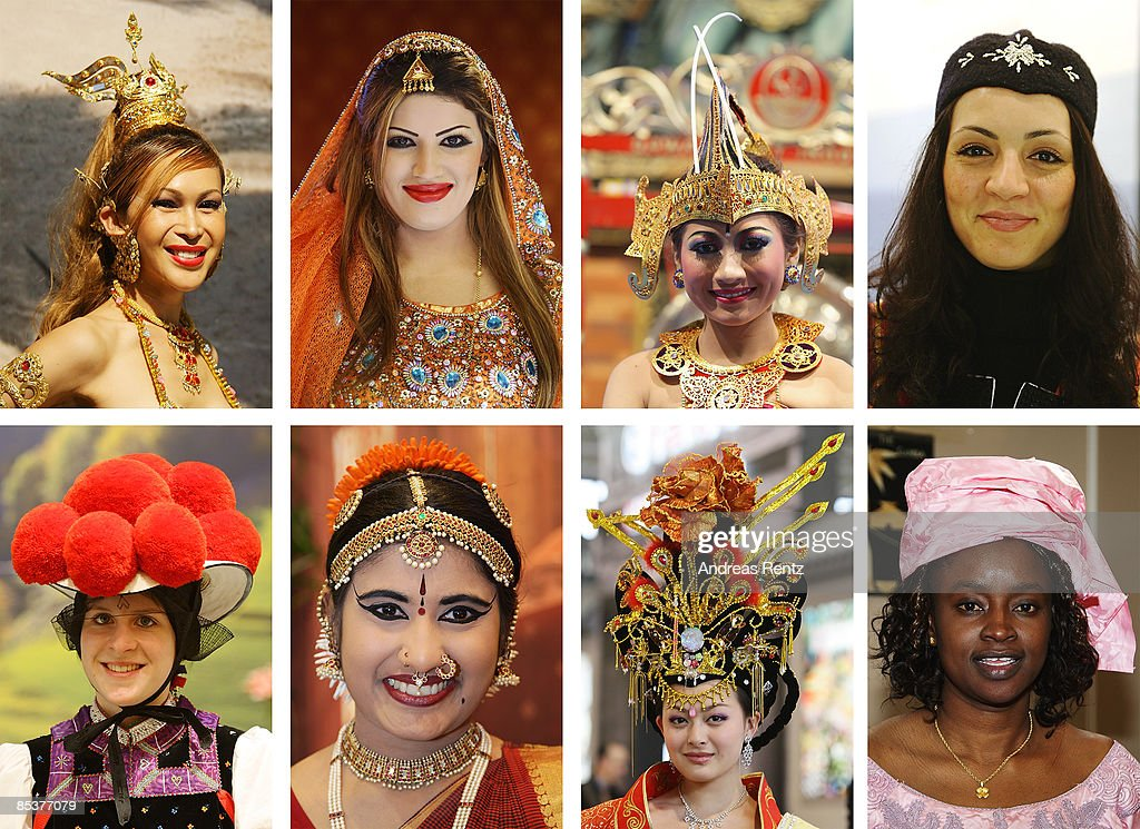 Women dressed up in traditional clothes from Thailand Oman Indonesia Tunisia and Germany India China and Gambia smile at the ITB International...