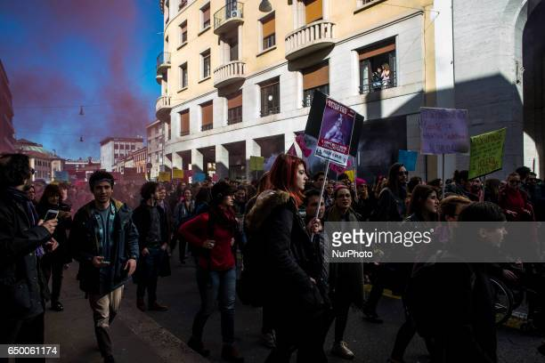 Women during a demonstration quotLotto Marzoquot against violence against women during International Women's Day in Padua Italy on March 8 2017...