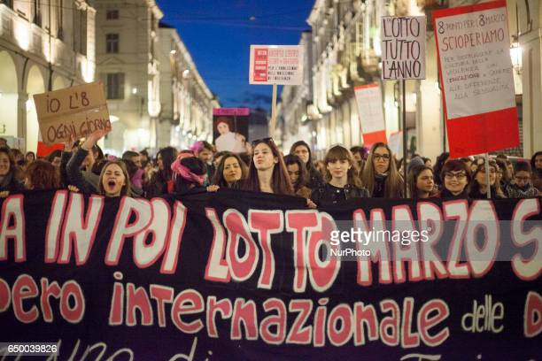 Women during a rally as part of a nationwide 'Lotto Marzo' protest on the International Women's Day 2017 in Torino Italy on March 8 2017