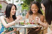 Women eating at outdoor cafe