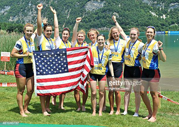 Women Eight team USA takes 1st place during the World Rowing Cup II on June 22 2014 in Aiguebelette France