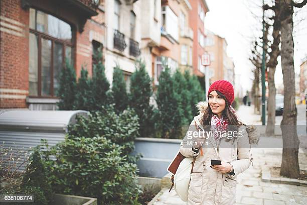 Women enjoys city walk