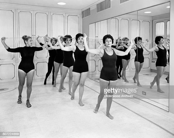 Women exercising in a Helena Rubenstein gym class New York New York September 1961