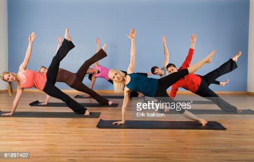 Women exercising in yoga class