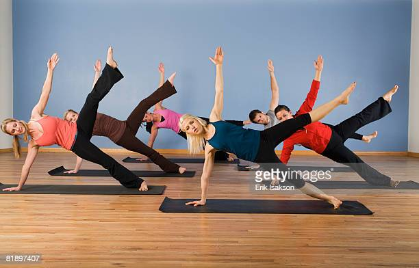 Women exercising in yoga class