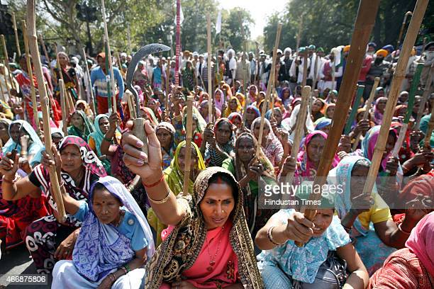 Women farmers gather in the heart of the capital protesting against the Land Acquisition Bill on March 19 2015 in New Delhi India Modi led NDA...