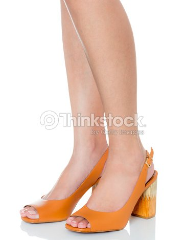 7658f026b2958 Women Feet Wearing Leather High Heel Chunky Heel Fashion Shoes With ...
