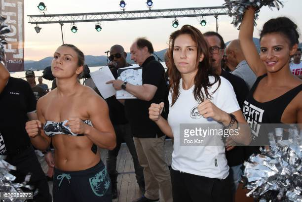 Women Fighters Marina Spasic and Mallaury Kalashnifoff attend the Fight Night Weighing Party at La Bouillabaisse Saint Tropez on August 3 2017 in...