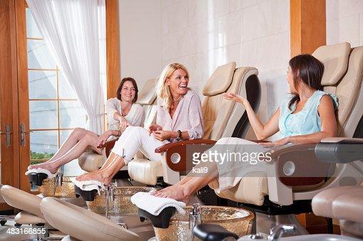 Women getting pedicure