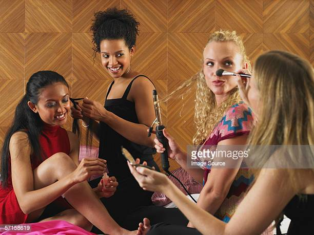 Women getting ready to go out