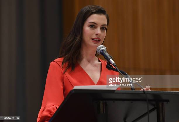 UN Women Goodwill Ambassador Anne Hathaway speaks at the UN International WomenÕs Day commemoration with UN officials gender experts and activists...