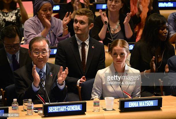 UN Women Goodwill Ambassador Emma Watson and United Nations Secretary General Ban Kimoon pose for a photo September 20 2014 at the United Nations in...