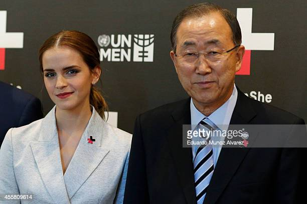 Women Goodwill Ambassador Emma Watson and United Nations Secretary General Ban Kimoon pose for a picture while they attend the HeForShe campaign...