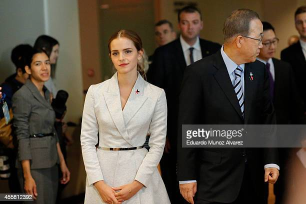Women Goodwill Ambassador Emma Watson walks next to United Nations Secretary General Ban Kimoon while they attend the HeForShe campaign launch at the...