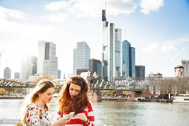 Women hanging out in the city during spring