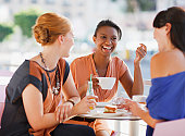Women having lunch together in cafe