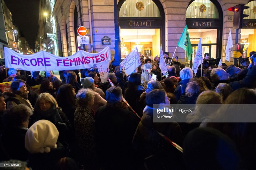 Women hold banner reading « Still feminist !» as they take part in a demonstration in front of the French Justice Ministry, in Paris, on November 14, 2017 called by different feminists associations to protest against the acquittal for rape of a man who had sex with an 11 year old. Two court decisions involving 11-year-old girls have recently highlighted the shortcomings of French law that the government intends to tackle in 2018.