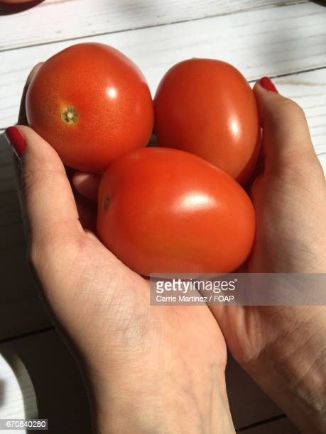 Women holding tomatos