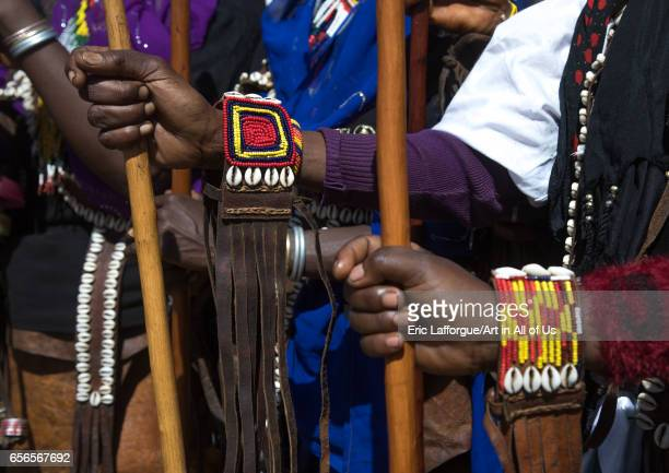 Women holding traditional sticks during the Gada system ceremony in Borana tribe Oromia Yabelo Ethiopia on March 7 2017 in Yabelo Ethiopia