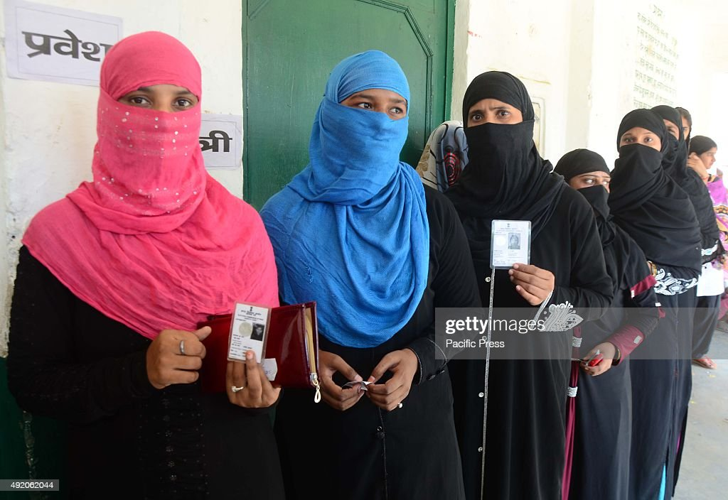 Women in a queue to cast their vote for Jila Panchayat Election at Meja near Allahabad