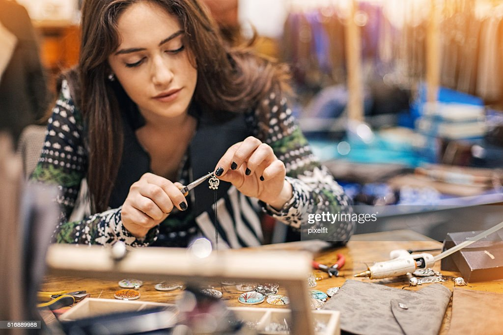 Women in arts and crafts : Stock Photo