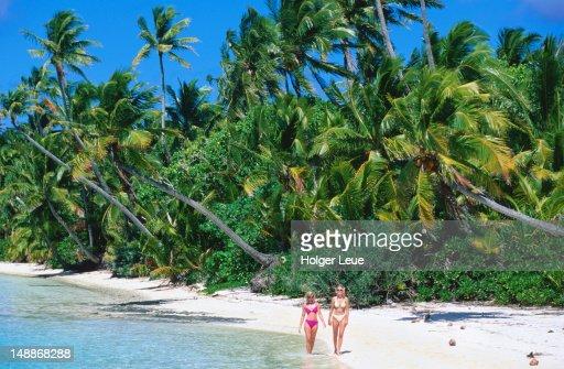 Women in bikinis on Motu Beach.