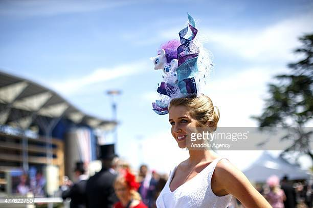 Women in elaborate hats attending on Ladies Day of Royal Ascot at Ascot racecourse in Berkshire England on June 18 2015 The 5 day showcase event...