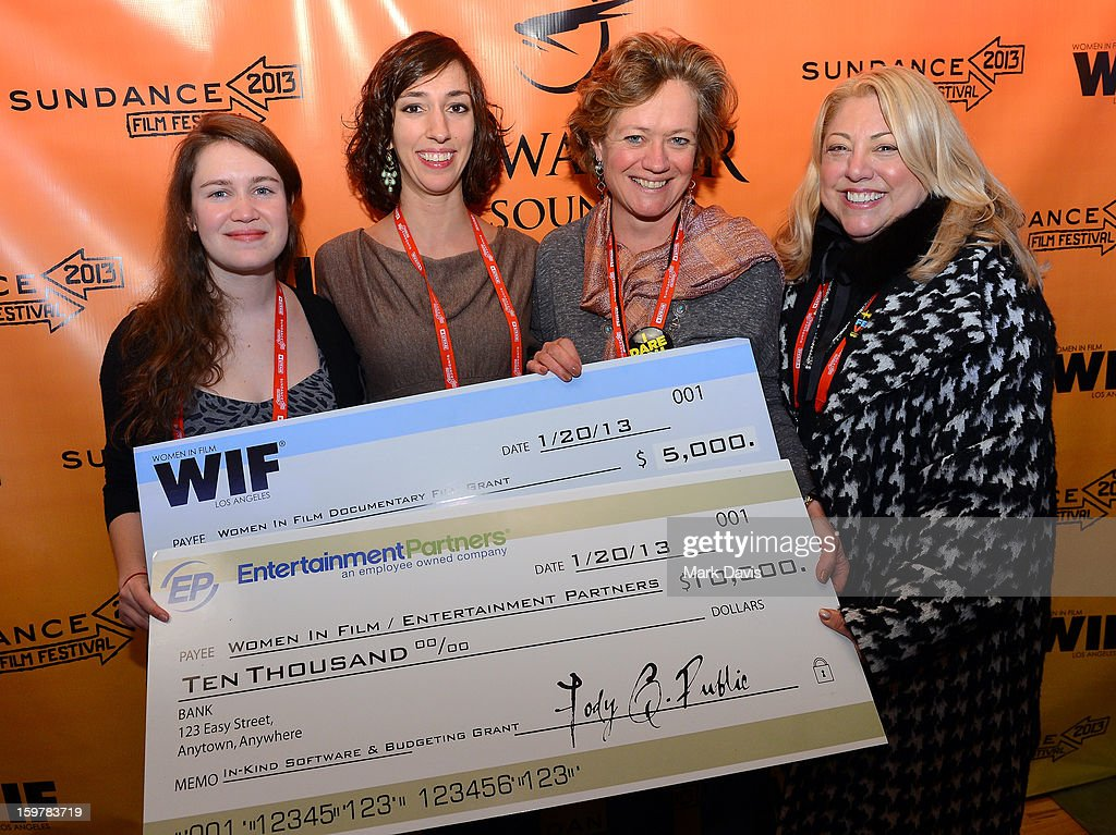 Women In Film Documentory Grant winners for film After Tiller, Martha Shane and Lana Wilson pose with Director Documentary Film Program Sundance Film Festival, Cara Mertes and moderator Lucy Webb at the Women In Film's Sundance Filmmakers Panel presented by Skywalker Sound on January 20, 2013 in Park City, Utah.