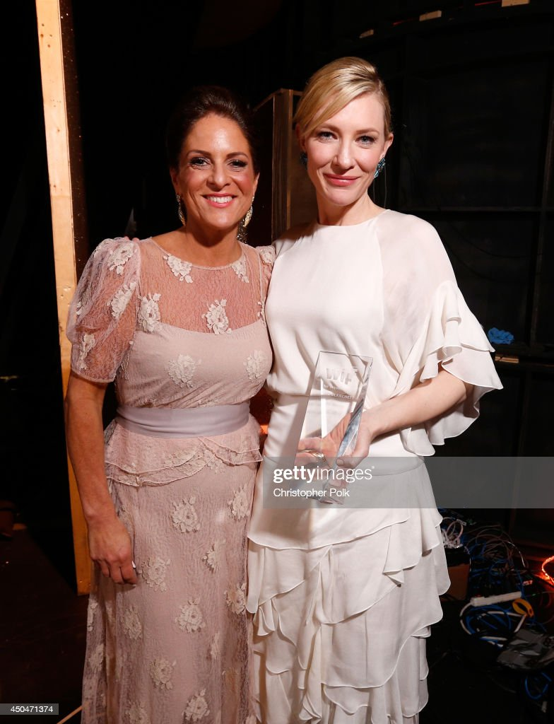 Women In Film President <a gi-track='captionPersonalityLinkClicked' href=/galleries/search?phrase=Cathy+Schulman&family=editorial&specificpeople=677977 ng-click='$event.stopPropagation()'>Cathy Schulman</a> (L) and actress <a gi-track='captionPersonalityLinkClicked' href=/galleries/search?phrase=Cate+Blanchett&family=editorial&specificpeople=201621 ng-click='$event.stopPropagation()'>Cate Blanchett</a>, Crystal Award for Excellence in Film award recipient, attend Women In Film 2014 Crystal + Lucy Awards presented by MaxMara, BMW, Perrier-Jouet and South Coast Plaza held at the Hyatt Regency Century Plaza on June 11, 2014 in Los Angeles, California.
