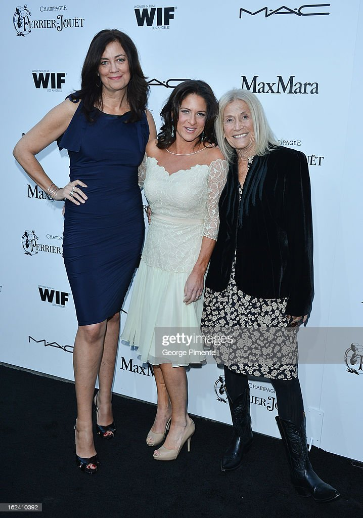 Women in Film President Emeritus Jane Fleming (L) <a gi-track='captionPersonalityLinkClicked' href=/galleries/search?phrase=Cathy+Schulman&family=editorial&specificpeople=677977 ng-click='$event.stopPropagation()'>Cathy Schulman</a> (M) attends the 6th Annual Women In Film Pre-Oscar Party hosted by Perrier Jouet, MAC Cosmetics and MaxMara at Fig & Olive on February 22, 2013 in Los Angeles, California.