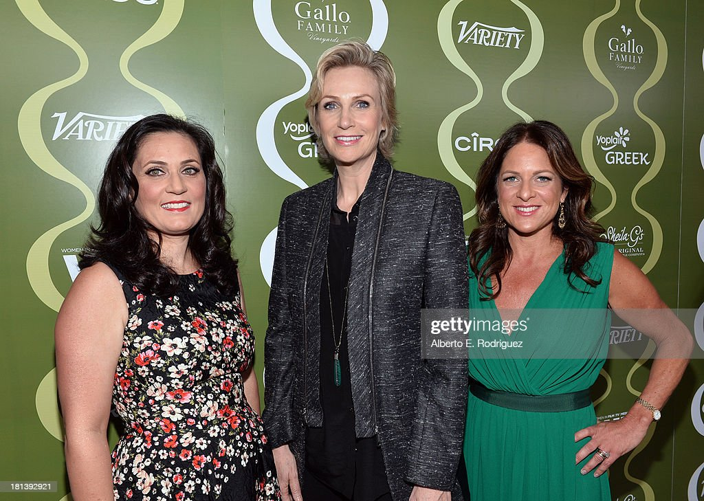 Women in Film (WIF) TV & Media Committee Chairman Danica Krislovich, actress <a gi-track='captionPersonalityLinkClicked' href=/galleries/search?phrase=Jane+Lynch&family=editorial&specificpeople=663918 ng-click='$event.stopPropagation()'>Jane Lynch</a>, and Women In Film (WIF) President <a gi-track='captionPersonalityLinkClicked' href=/galleries/search?phrase=Cathy+Schulman&family=editorial&specificpeople=677977 ng-click='$event.stopPropagation()'>Cathy Schulman</a> attend Variety & Women In Film Pre-Emmy Event presented by Yoplait Greek at Scarpetta on September 20, 2013 in Beverly Hills, California.