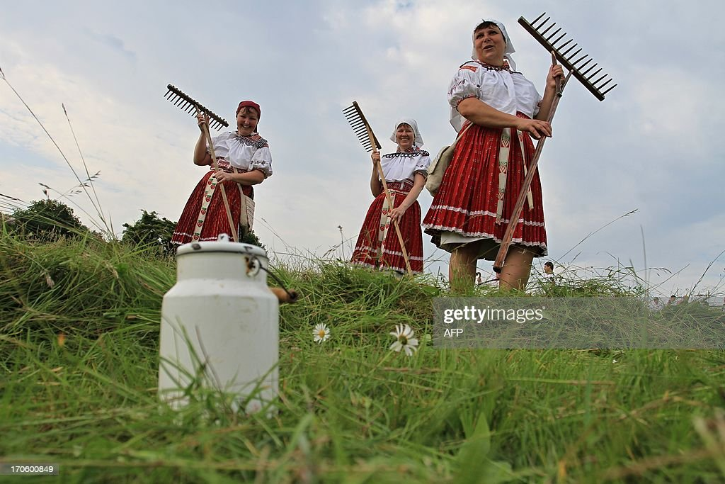 Women in folk costumes are pictured at the traditional hay meadows in Mala Vrbka, 120 km south-east of Brno near the Slovakian border, Czech Republic on June 15, 2013. Around 150 people gathered to mow the meadow in Mala Vrbka. AFP PHOTO/ RADEK MICA