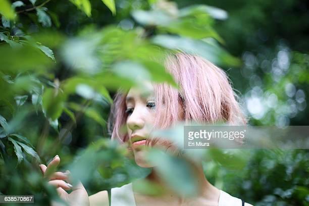 women in green forest