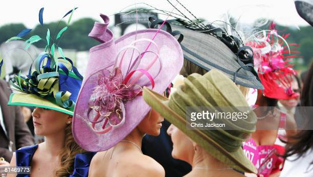 Women in hats are seen during Ladies Day at The Derby Festival on June 6 2008 in Epsom England