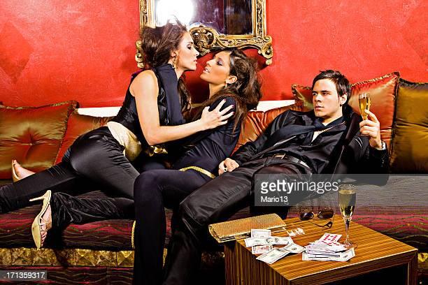 Women in love next to jelous man.