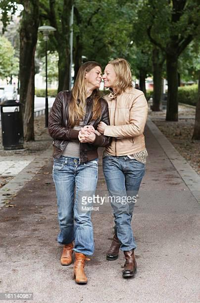 Women in love walking