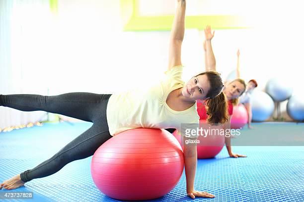 Women in Pilates class.