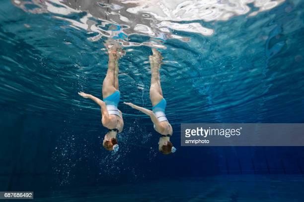 Women in Sport, teenage girls underwater synchronized swimming