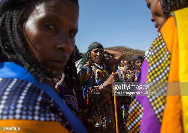 Women in traditional clothing during the Gada system ceremony in Borana tribe Oromia Yabelo Ethiopia on March 7 2017 in Yabelo Ethiopia