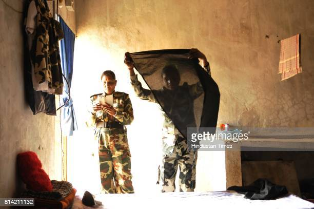 CRPF women jawans in their room during the rest hours for the first time CRPF has deployed women platoons in a conflict zone on February 11 2015 in...