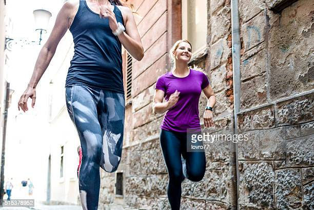 Women jogging in the city