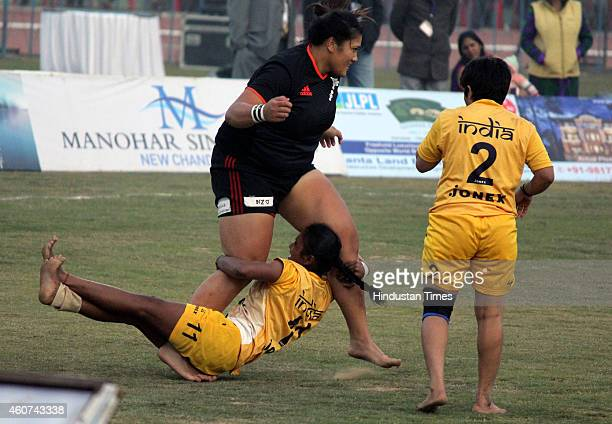 Women kabbadi players of India and New Zealand in action during final match of 5th World Kabaddi Cup closing ceremony at Badal Sports Stadium on...