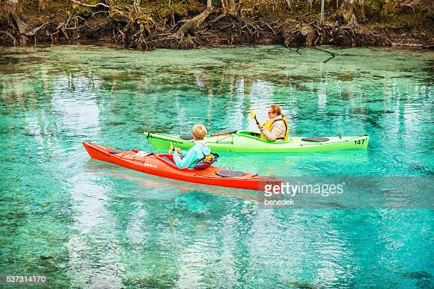 Women Kayaking at Spring in Crystal River Florida USA