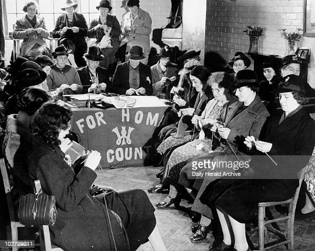 Women knitting as part of the WWII war effort 18 November 1939 Women knitting as part of the WWII war effort 18 November 1939 'Knitting Bee at the...
