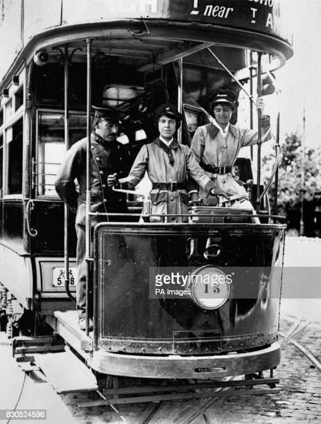 Women learning to drive Walthamstow Council trams in London during the First World War Women filled the posts left by men leaving for service in the...