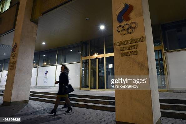 Women leave the Russian Olympic Committee building which houses the headquarters of the AllRussian Athletics Federation in Moscow on November 9 2015...