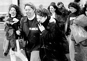 Women leaving from the bomb scene of the World Trade Center bombing