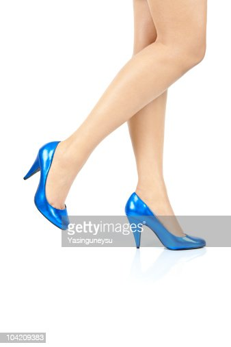 Women Legs Blue Shoe Moving