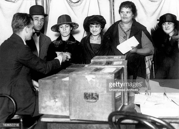 Women line up to vote for the first time in New York after the passage of the 19th Amendment New York New York 1920